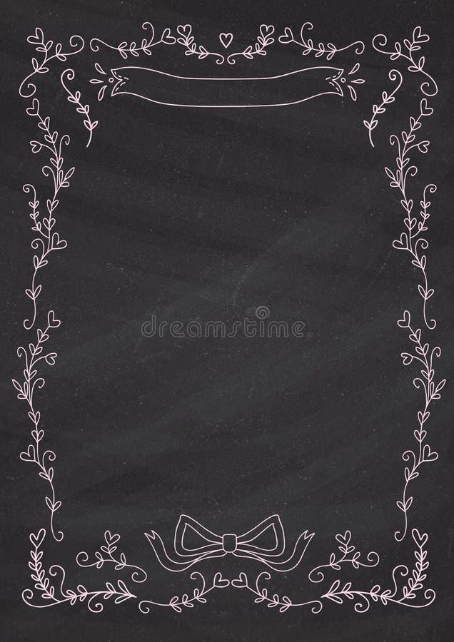 Pionowo klasyczny blackboard tło z kierową kwiat granicą ilustracji