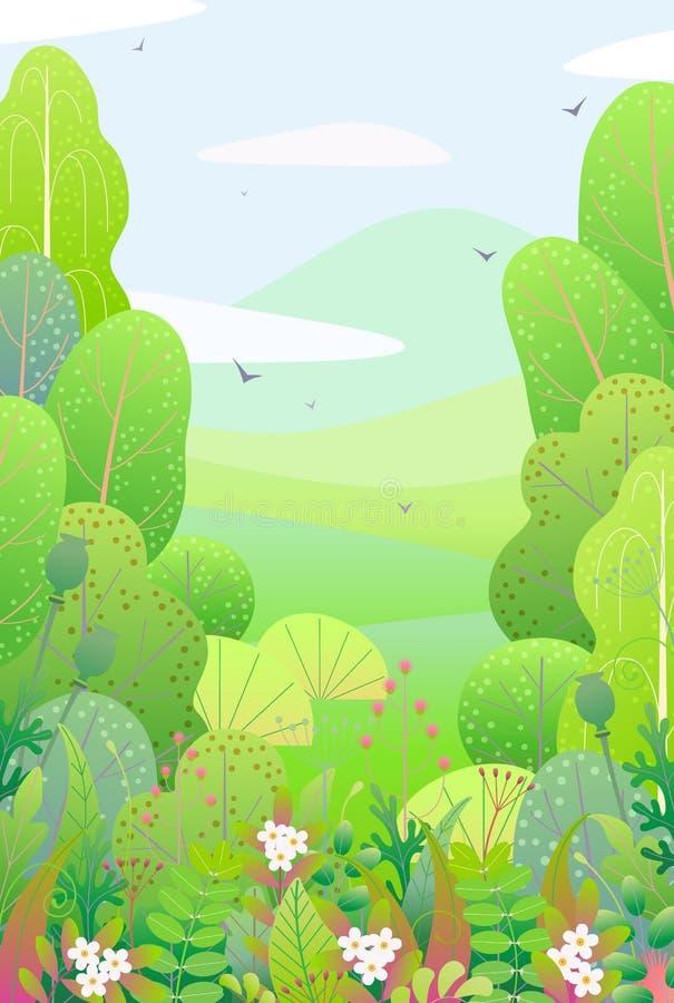 Pionowo Kwiecisty granicy i wiosny krajobraz ilustracji