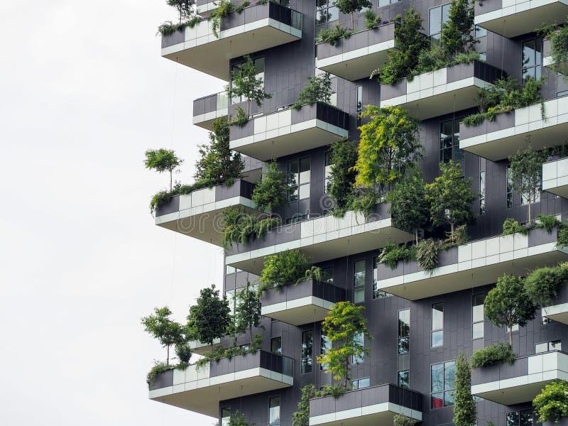 Pionowo lasowi budynki w Mediolan, Maj 2015 obraz stock