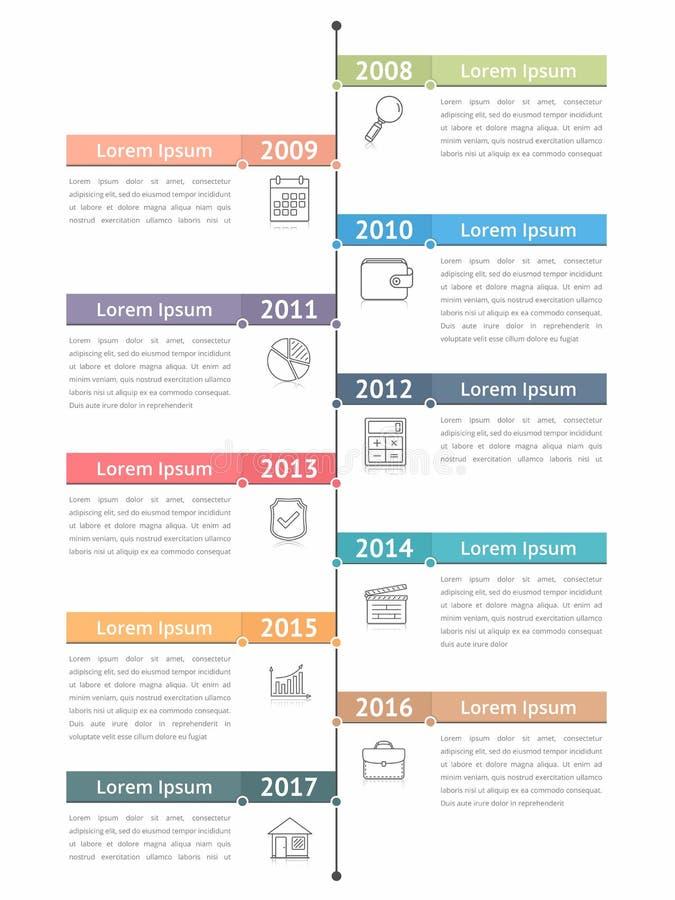 Pionowo linia czasu Infographics ilustracji