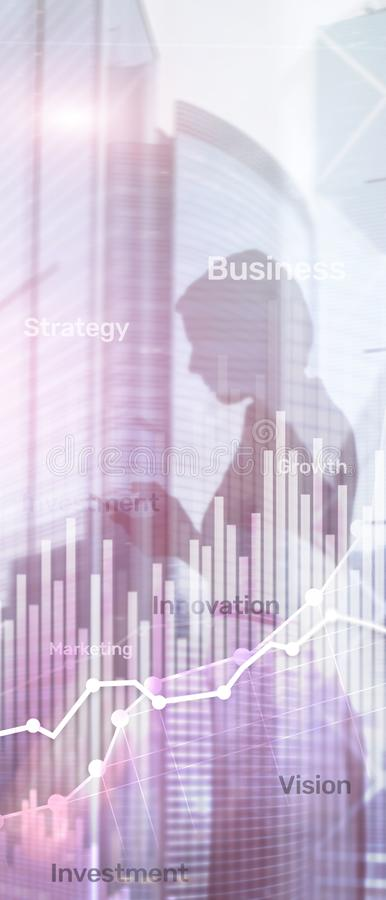 Pionowo panorama sztandar Biznesowy abstrakcjonistyczny t?a dwoistego ujawnienia wykres, mapa i diagram, ?wiatowa mapa i globalny zdjęcia royalty free