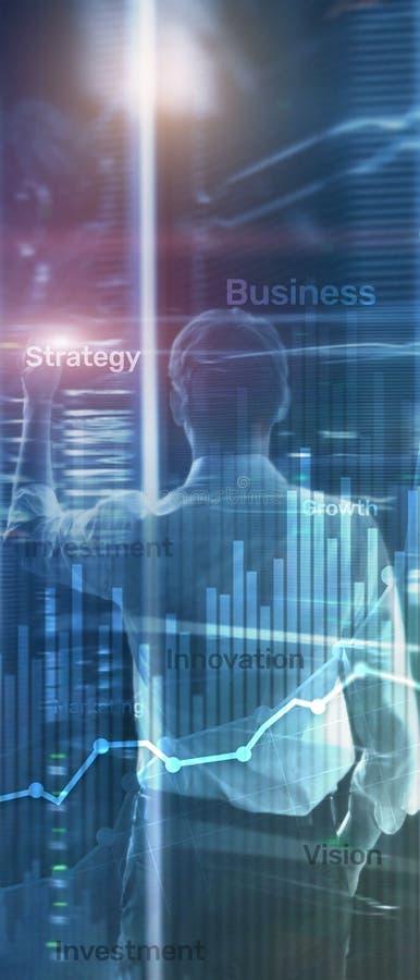 Pionowo panorama sztandar Biznesowy abstrakcjonistyczny t?a dwoistego ujawnienia wykres, mapa i diagram, ?wiatowa mapa i zdjęcia stock
