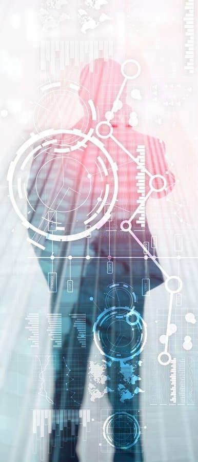 Pionowo panorama sztandar Biznesowy interfejs miesza? medialnego dwoistego ujawnienia mapy wykresu pieni??nego diagram i ikon? na ilustracja wektor
