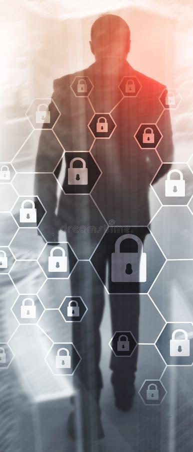 Pionowo panorama sztandar Cybersecurity, Ewidencyjna prywatno??, dane ochrona, wirus i spyware obrona, ilustracja wektor