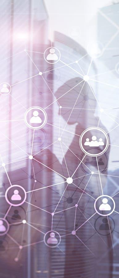 Pionowo panorama sztandar Dwoistego ujawnienia sieci structureÑŽÑŽ HR ludzie - dział zasobów ludzkich rekrutacja i zarządzanie ilustracja wektor
