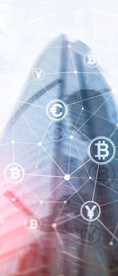 Pionowo panorama sztandar Dwoisty ujawnienie Bitcoin i blockchain poj?cie Cyfrowej gospodarka i waluta handel zdjęcia royalty free