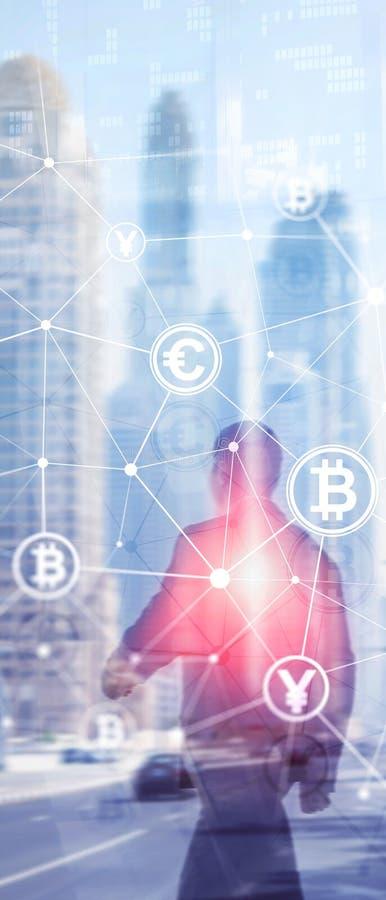 Pionowo panorama sztandar Dwoisty ujawnienie Bitcoin i blockchain poj?cie Cyfrowej gospodarka i waluta handel obrazy royalty free