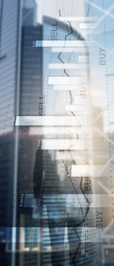 Pionowo panorama sztandar Pieni??nego akcyjnego handlu wykresu mapy diagrama biznesu finanse poj?cia dwoisty ujawnienie mieszaj?c zdjęcie royalty free
