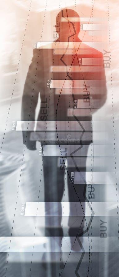 Pionowo panorama sztandar Pieni??nego akcyjnego handlu wykresu mapy diagrama biznesu finanse poj?cia dwoisty ujawnienie mieszaj?c obrazy stock