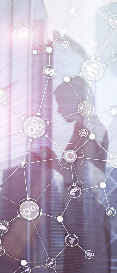 Pionowo panorama sztandar Rozwój biznesu struktury obieg diagrama automatyzacji innowacji przemysłowy pojęcie na wirtualnym ekran obrazy stock