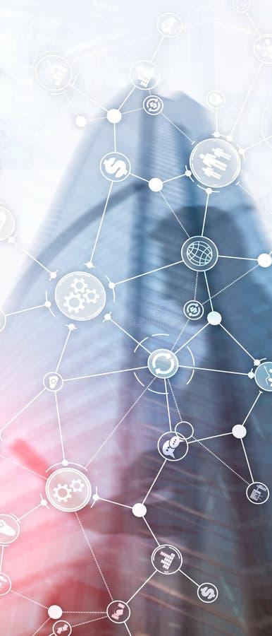 Pionowo panorama sztandar Rozw?j biznesu struktury obieg diagrama automatyzacji innowacji przemys?owy poj?cie dalej fotografia stock