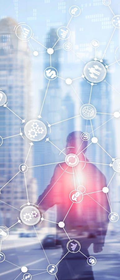 Pionowo panorama sztandar Rozw?j biznesu struktury obieg diagrama automatyzacji innowacji przemys?owy poj?cie dalej ilustracji