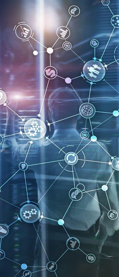 Pionowo panorama sztandar Rozw?j biznesu struktury obieg diagrama automatyzacji innowacji przemys?owy poj?cie dalej zdjęcie royalty free