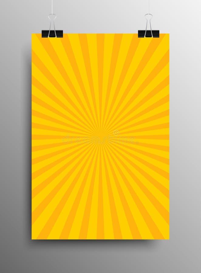 Pionowo Plakatowi Żółci Olśniewający promienie promienie ilustracji