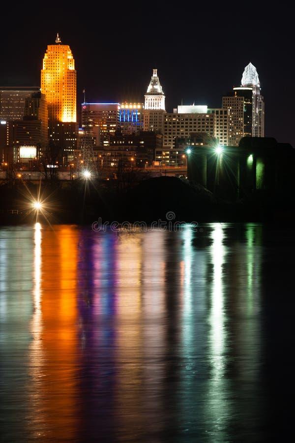 Pionowo skład rzeki ohio Cincinnati miasta W centrum linia horyzontu zdjęcia stock