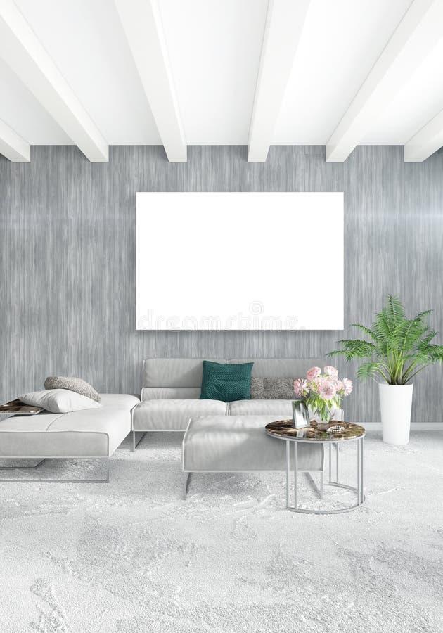 Pionowo sypialnia Minimalna lub Loft stylowy Wewnętrzny projekt świadczenia 3 d pojęcia podłączeniowi pomysłu internety dzierżawi ilustracja wektor