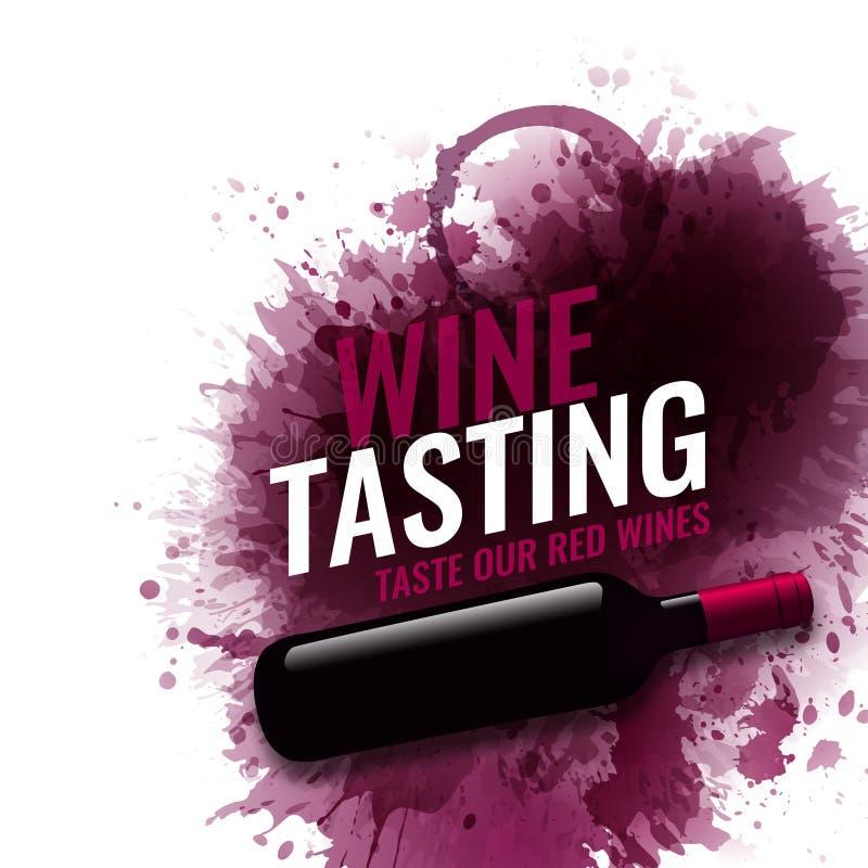 Pionowo sztandar z winem plami tło Wino degustacji teksta przykład Wino butelki ilustracja Wektor krople i punkty ilustracji