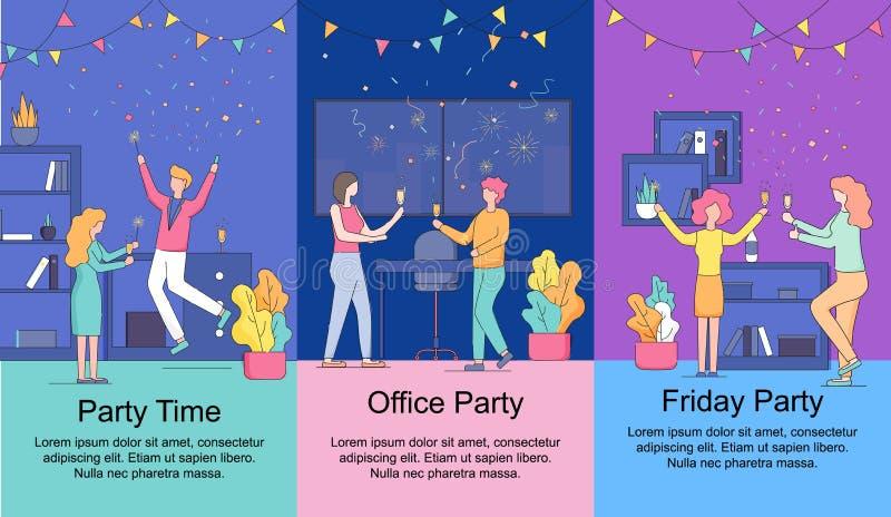 Pionowo sztandary ustawiający Piątku Biurowego przyjęcia czas royalty ilustracja