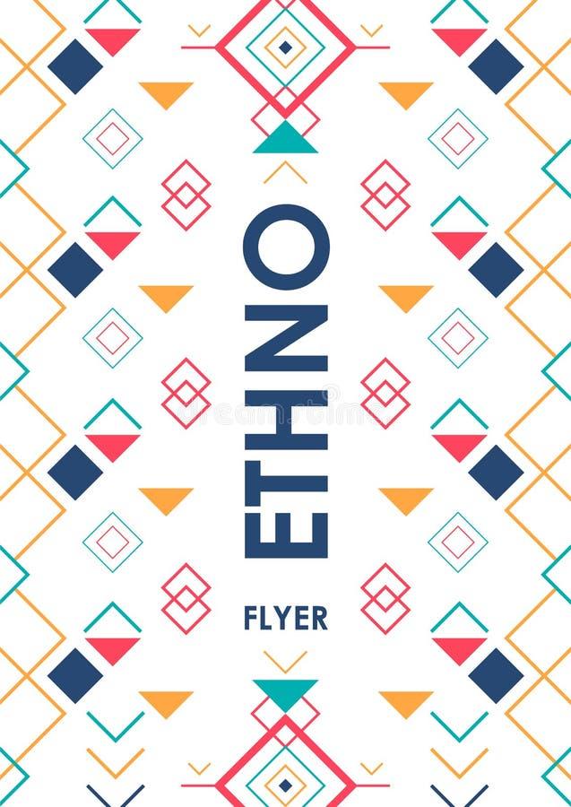 Pionowo tło z geometrycznym etnicznym ornamentem ethno abstrakcjonistyczny plakatowy szablon z miejscem dla teksta ilustracja wektor