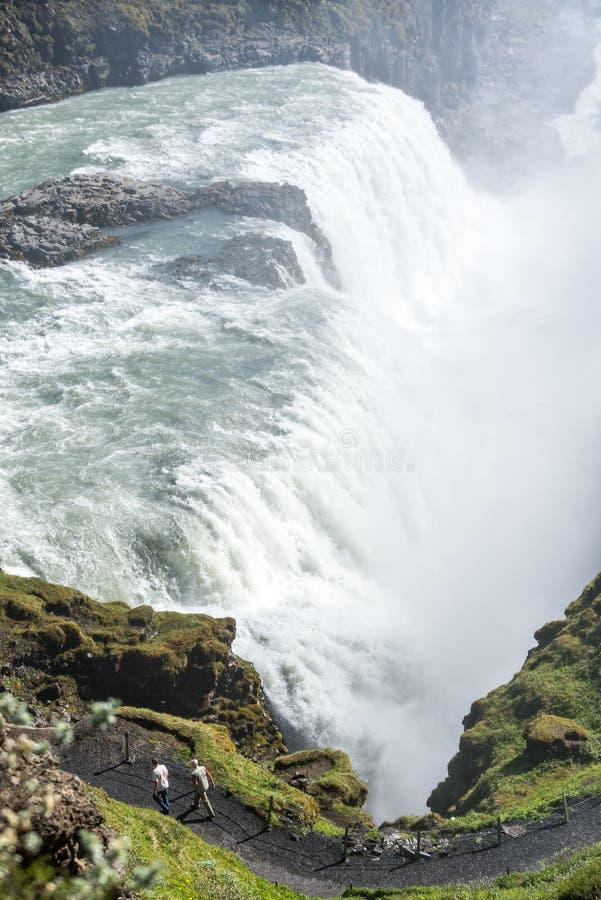 Pionowo widok sławny Gullfoss zdjęcie stock