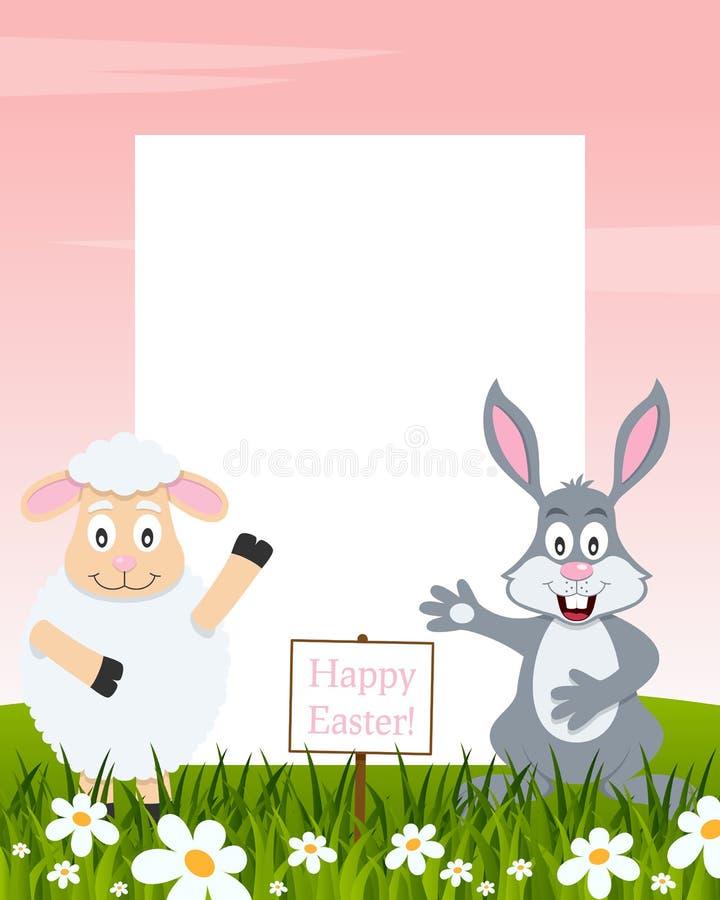 Pionowo wielkanocy rama - baranek i królik ilustracja wektor