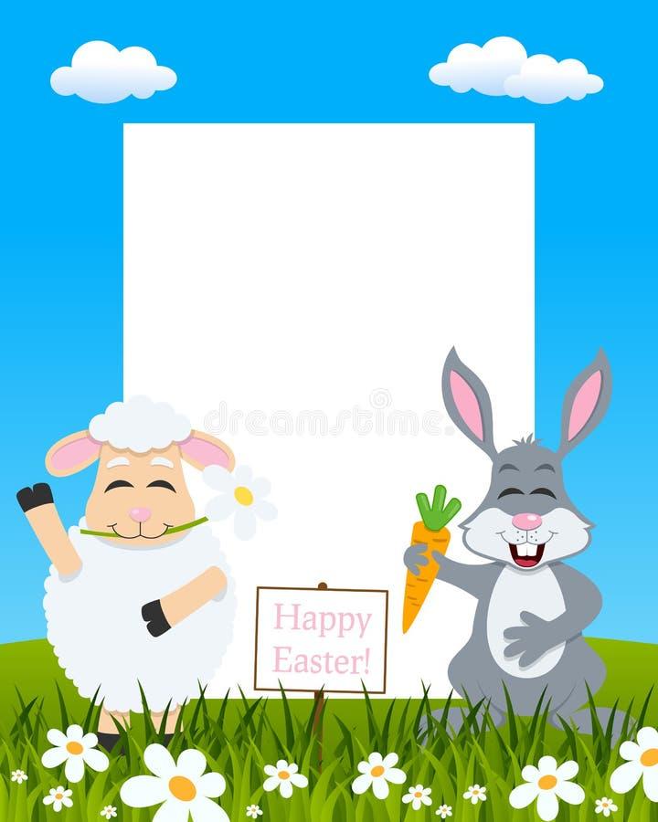 Pionowo wielkanocy rama - baranek & królik ilustracja wektor