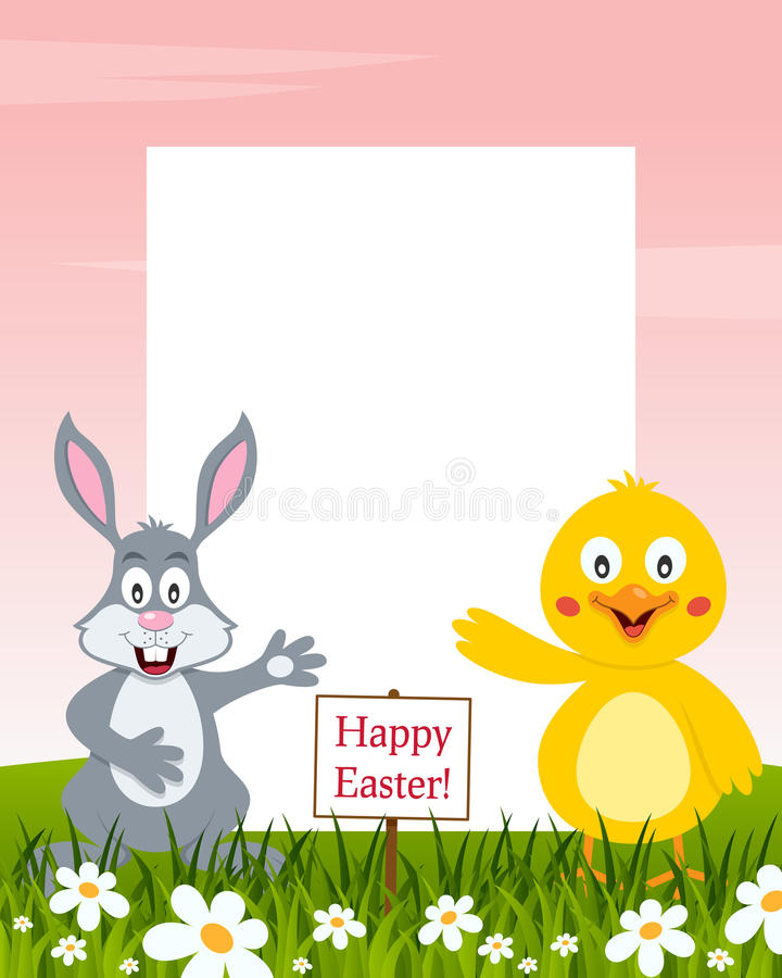 Pionowo wielkanocy rama - królik i kurczątko ilustracja wektor