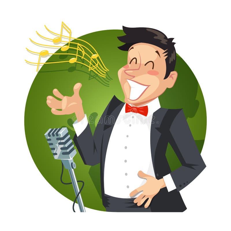 Piosenkarz śpiewa z mikrofonem ilustracji