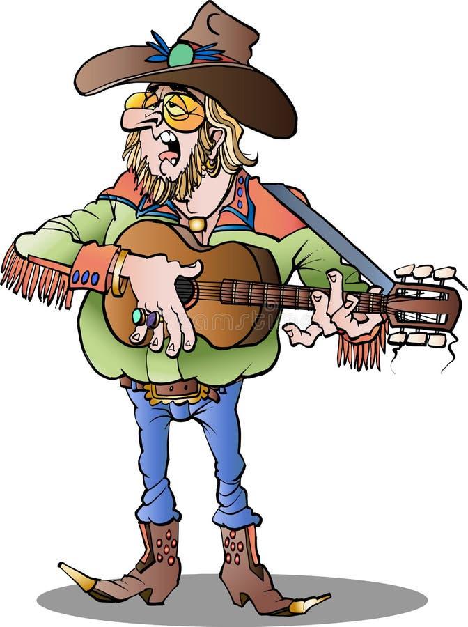Piosenkarz country samiec royalty ilustracja