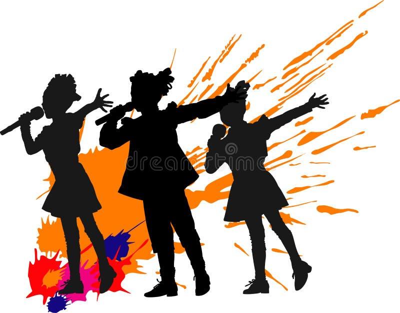 Piosenkarz dziewczyny ilustracji