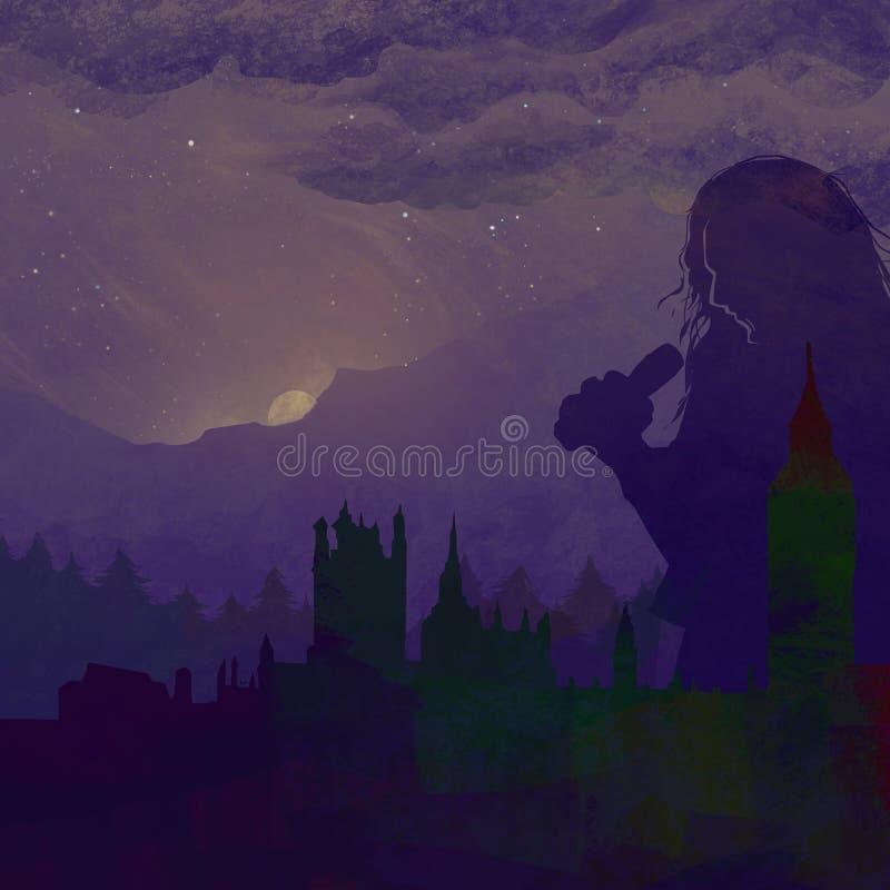 Piosenkarz miasto ilustracja wektor