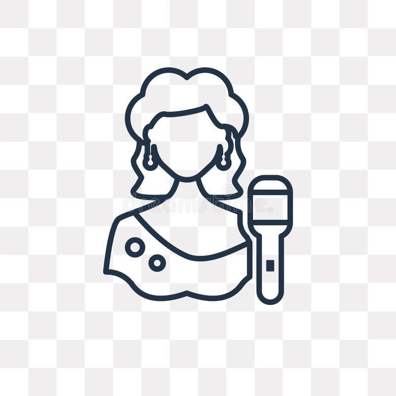 Piosenkarz wektorowa ikona odizolowywająca na przejrzystym tle, liniowy Si ilustracji