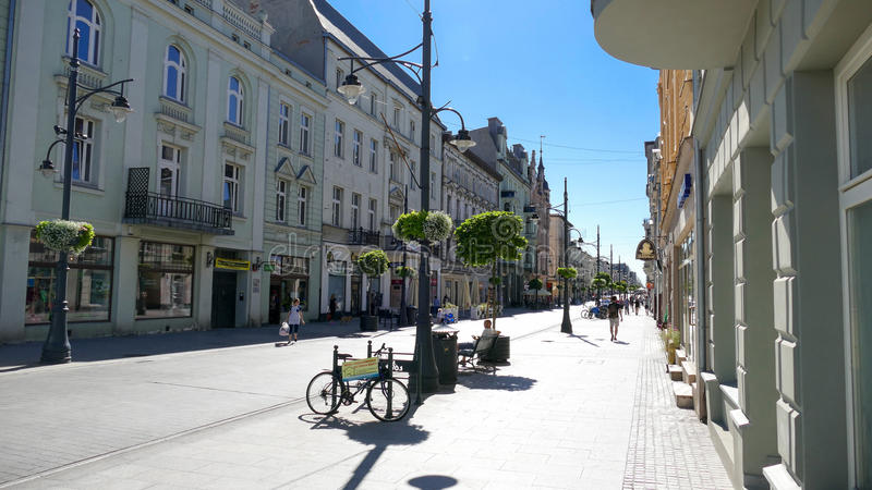 Piotrkowska Street, City of Lodz, Poland. City of Lodz, Poland, Piotrkowska Street is one of the longest commercial thoroughfares in Europe, with a length of 4.9 stock photos