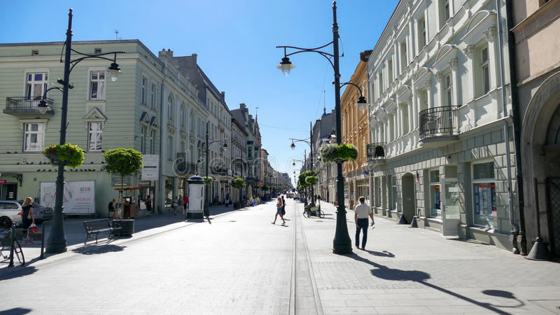 Piotrkowska Street, City of Lodz, Poland. City of Lodz, Poland, Piotrkowska Street is one of the longest commercial thoroughfares in Europe, with a length of 4.9 royalty free stock photography