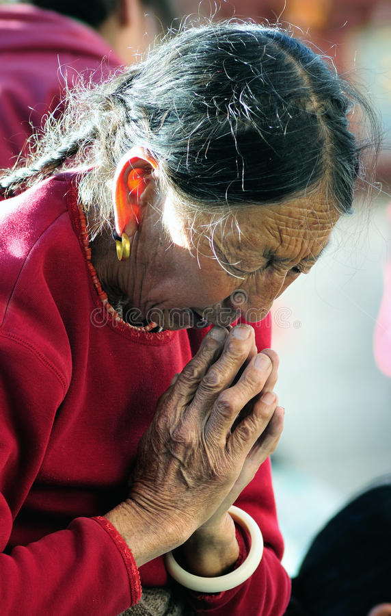 Free Pious Tibet Prayer In Jokhang Temple Stock Images - 18231354
