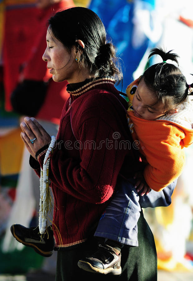 Free Pious Tibet Prayer In Jokhang Temple Stock Images - 18231454