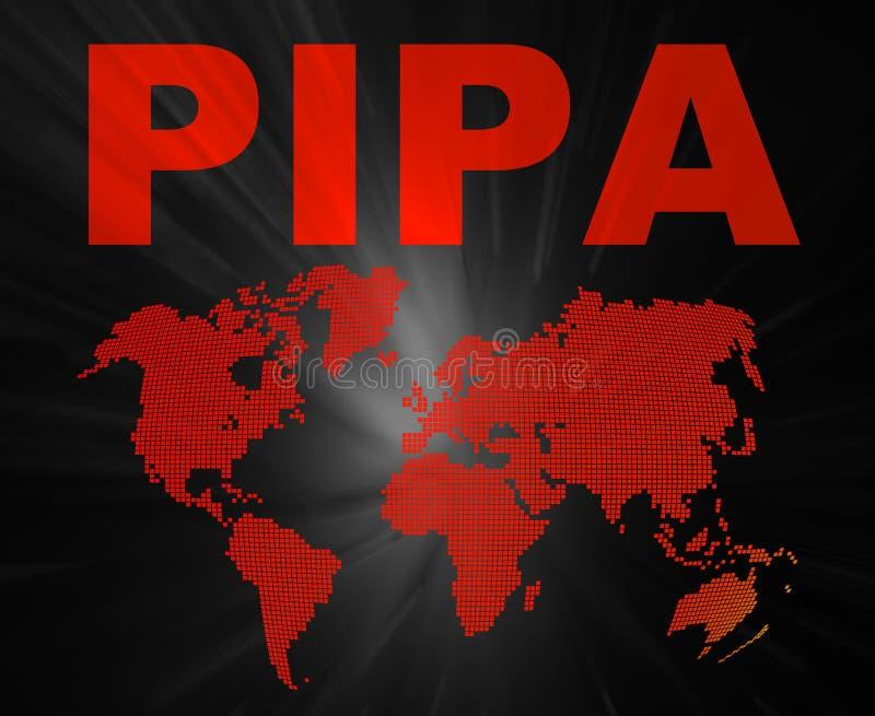 PIPA-Auffassungtexte und Weltkarte lizenzfreies stockfoto