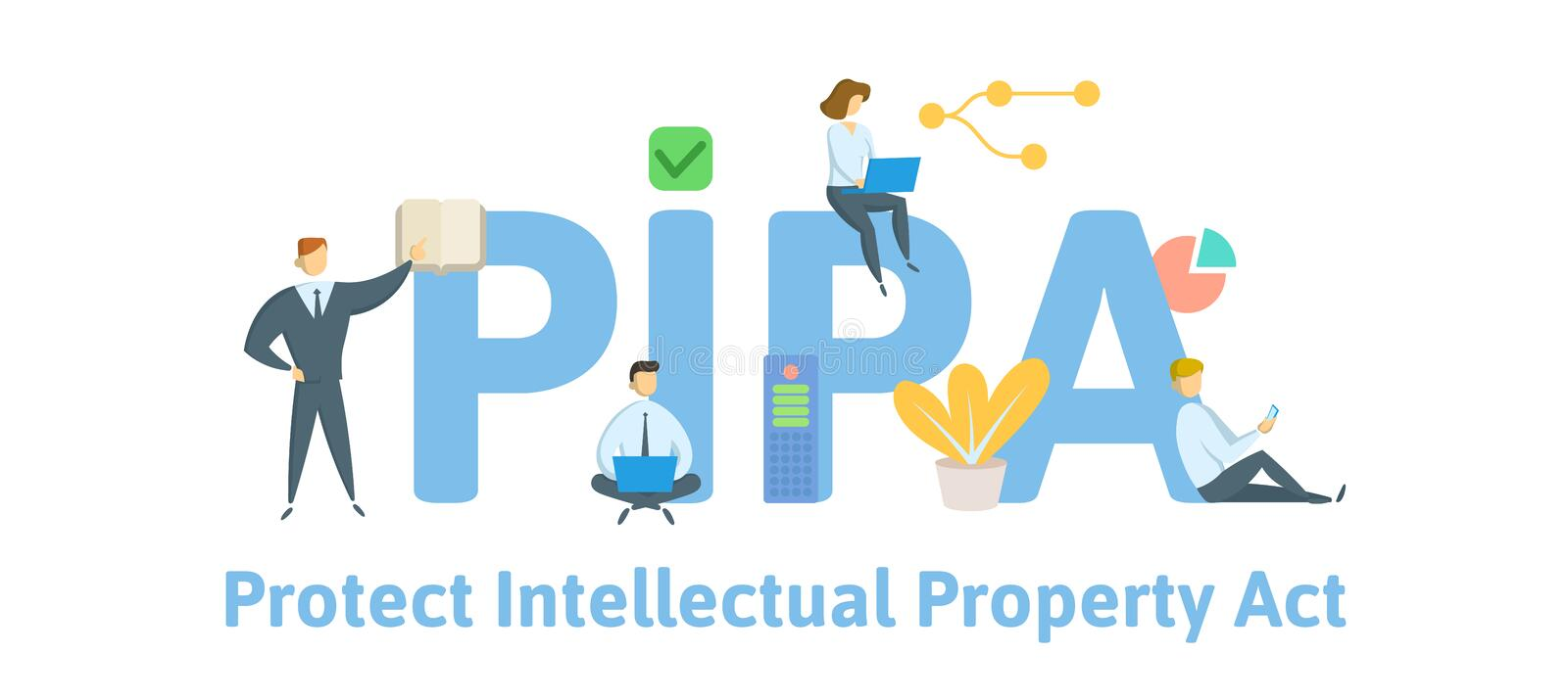 PIPA, Protect Intellectual Property Act. Concept with people, keywords and icons. Flat vector illustration. Isolated on. PIPA, Protect Intellectual Property Act stock illustration
