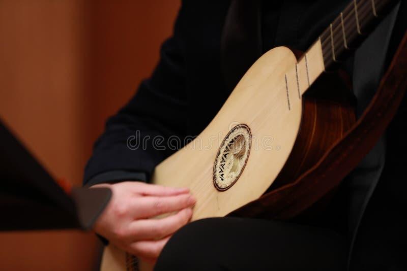 Pipaplayer Kompozytor, muzyka Portret bawić się muzykę klasyczną na Pipa na czarnym tle mężczyzna Copyspace zdjęcie stock