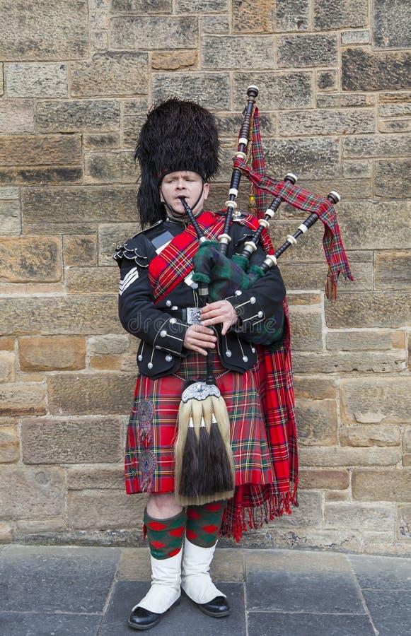 Pipblåsare i skotsk dräkt för tradition i Edinburg arkivbild