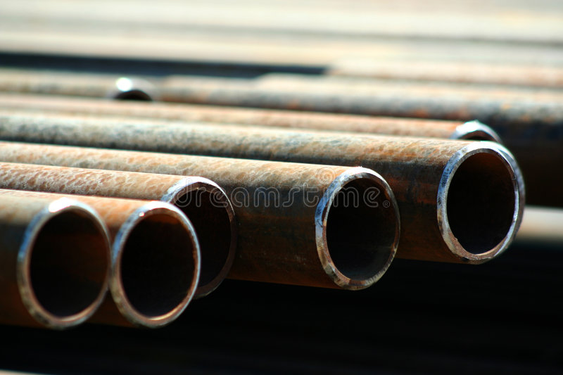 Pipe. A line of steel pipe royalty free stock photo