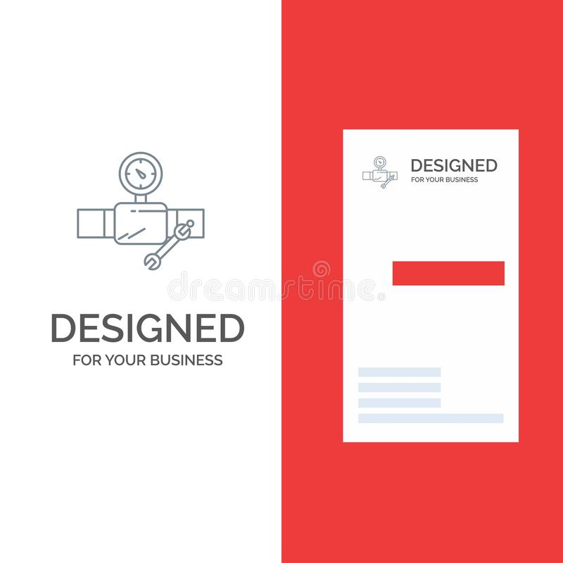 Pipe, Building, Construction, Repair, Gage Grey Logo Design and Business Card Template stock illustration