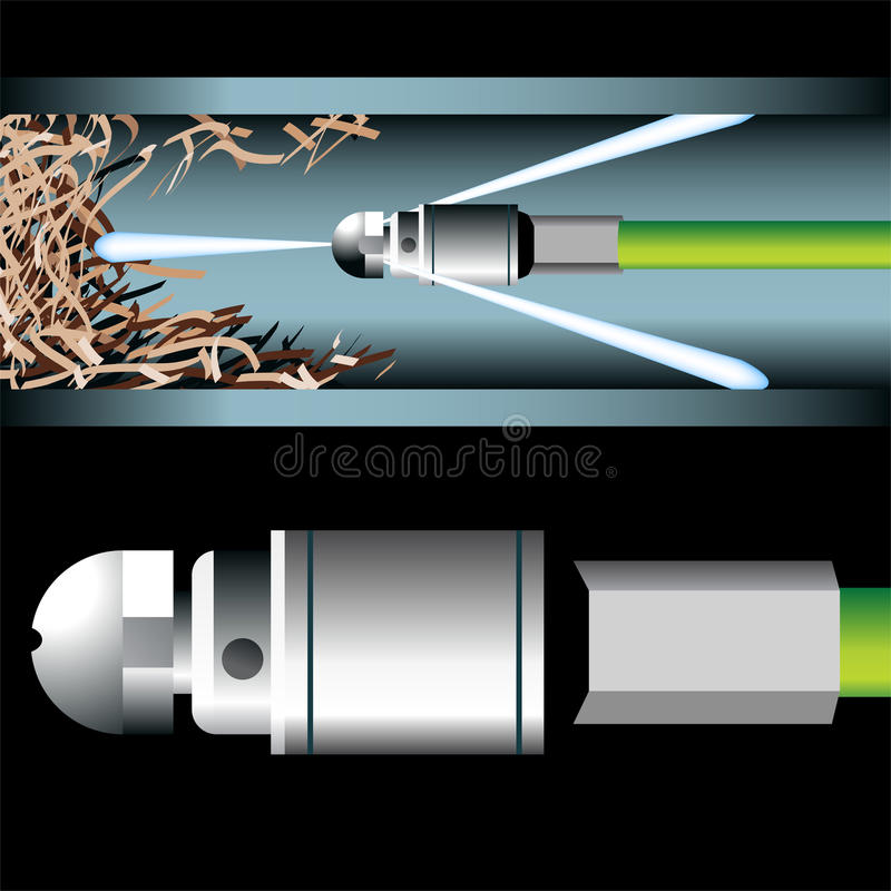 Pipe Cleaning. 3D image of a plumbing device cleaning an underground pipe royalty free illustration