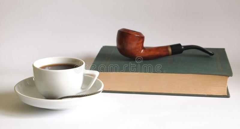 Pipe and coffee stock photo