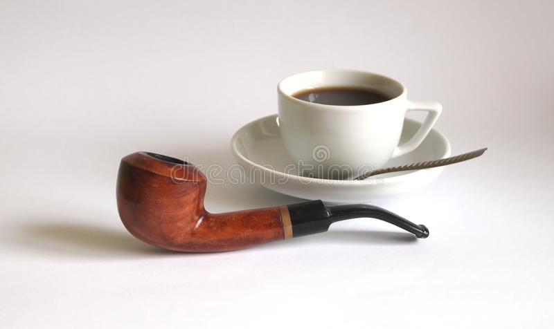 Pipe and coffee royalty free stock photography