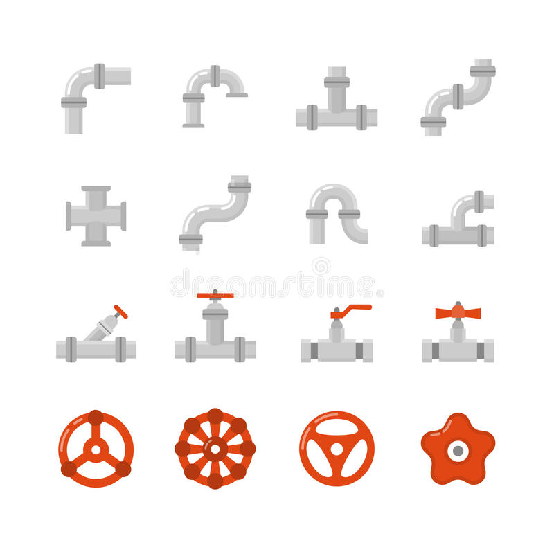 Pipe connector, water pipe fitting flat vector icons for plumbing and piping work. Set of tube construction with valve, illustration of steel tube stock illustration