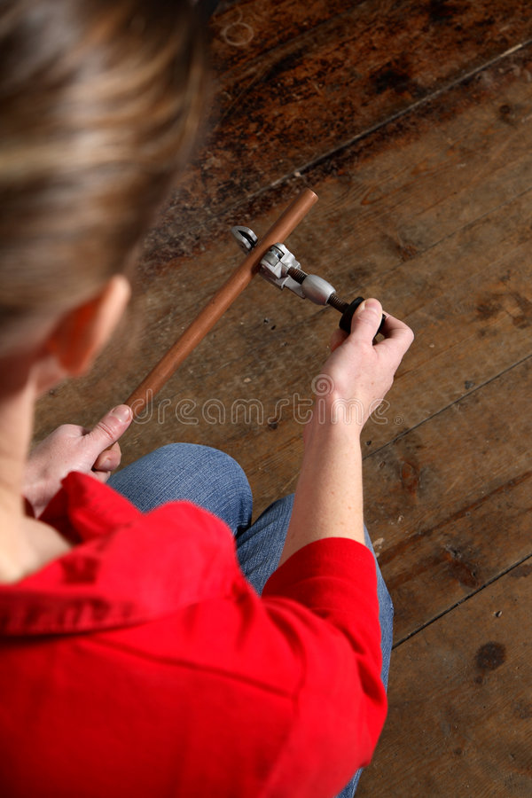 Pipe cutting royalty free stock images