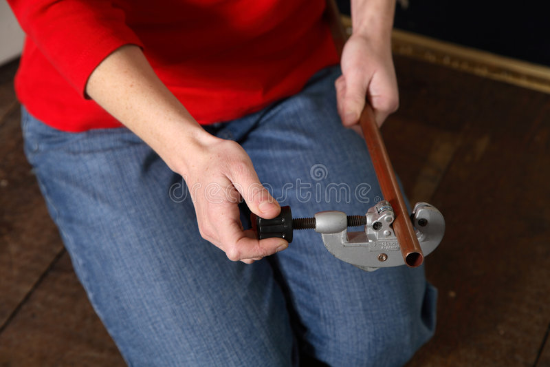 Pipe cutting royalty free stock photos