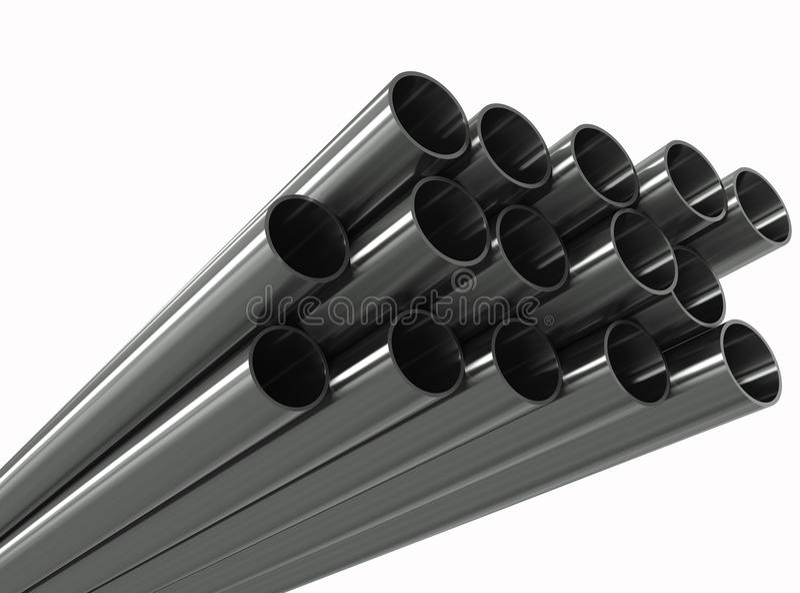 Pipe en métal de groupe sur un fond blanc illustration de vecteur