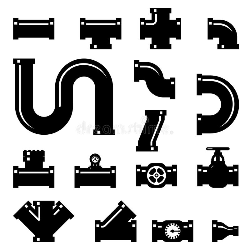 Pipe fittings vector icons set vector illustration